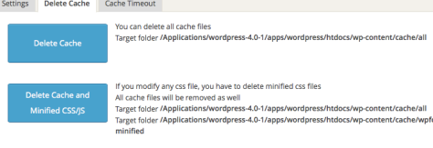 WordPress Fastest Cache Delete Cache Option Screen