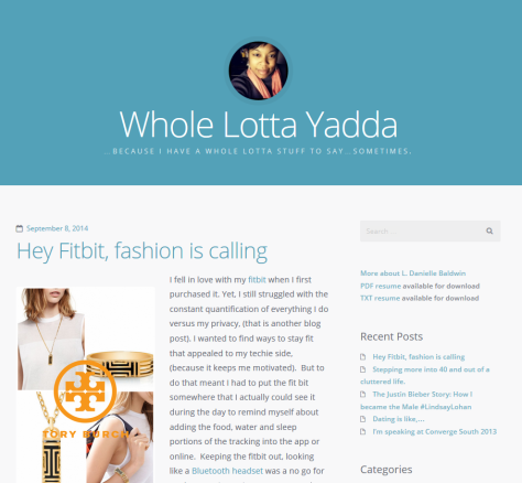 Website Whole Lotta Yadda by L. Danielle Baldwin - screenshot.