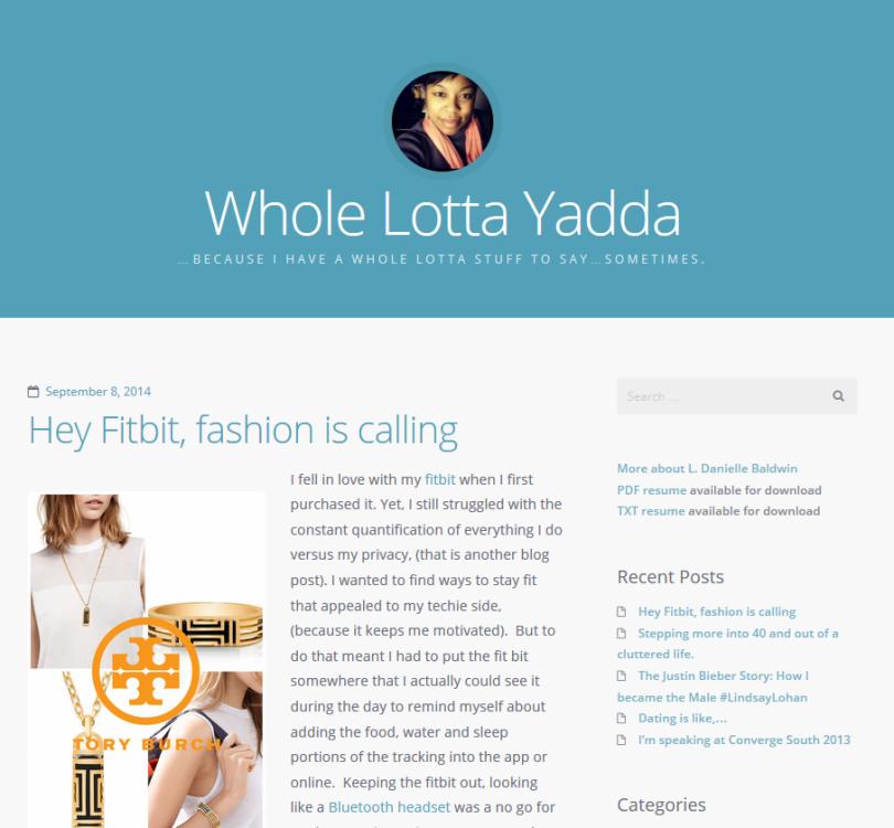 Website Whole Lotta Yadda by L. Danielle Baldwin - screenshot.
