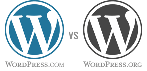 WordPress.org verses WordPress.com graphic with logos.