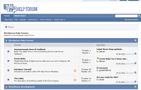WP Help forum - Screenshot.