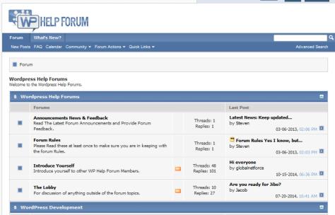 WP Help forum - Screenshot.