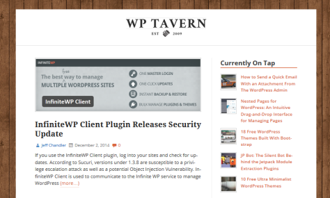Screenshot of WP Tavern.