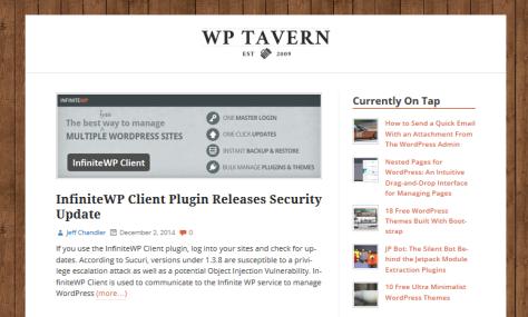 Screenshot of WP Tavern.