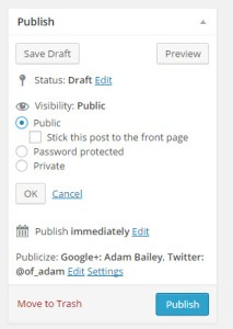 Screenshot of sticky post publish