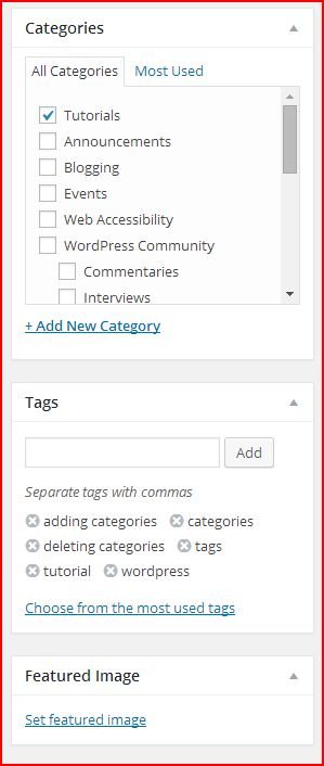 A picture of the category and tags option in post editing
