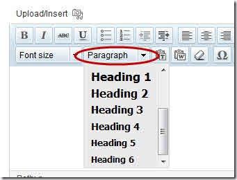WordPress Heading in the visual editor