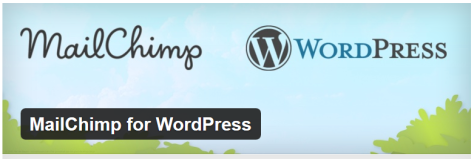 Graphic of WordChimp and WordPress logos with a blue sky background.