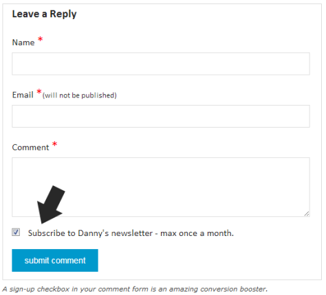 Screenshot of a MailChimp checkbox example.