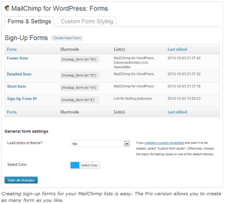 Screenshot of MailChimp checkbox setup on WordPress.
