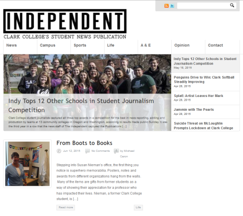 Screenshot of front page of Clark College Independent.
