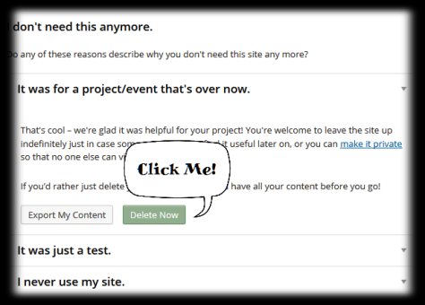 Screen shot of the page on your WordPress blog where you click the delete button.