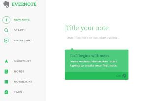 A screenshot of the start of an  Evernote note.