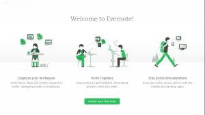 A screen shot of Evernote's welcome page.