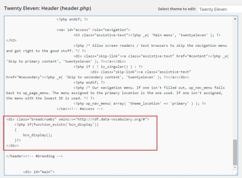code to be added to header.php for breadcrumb
