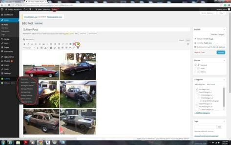 Uploading and arranging images using the NextGen Gallery WordPress Plugin screenshot.
