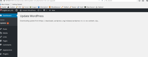 Screen shot of WordPress updating