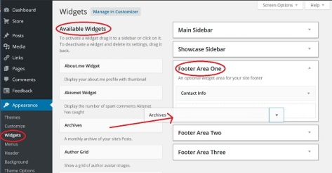Screenshot of Footer Widget area in WordPress.