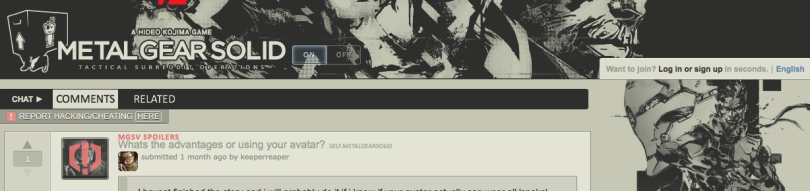 A gaming forum for a game called Metal Gear Solid.