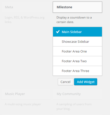 A copied image for showing the selection of Milestone Widget and the assignment to the Sidebar
