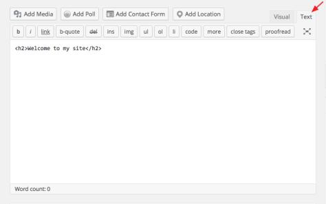 A screenshot of the WordPress text editor