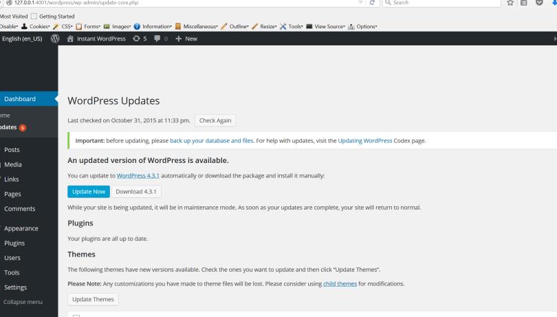 Screen shot of update notification in the WordPress WP Admin area