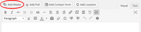 A screenshot of the Add Media button in the WordPress editor