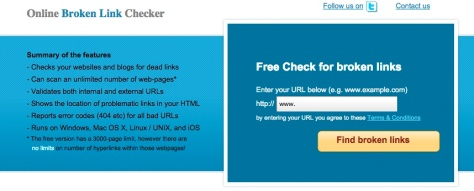 Screen shot from brokenlinkchecker.com
