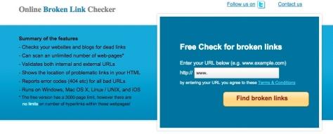Screen shot from brokenlinkchecker.com