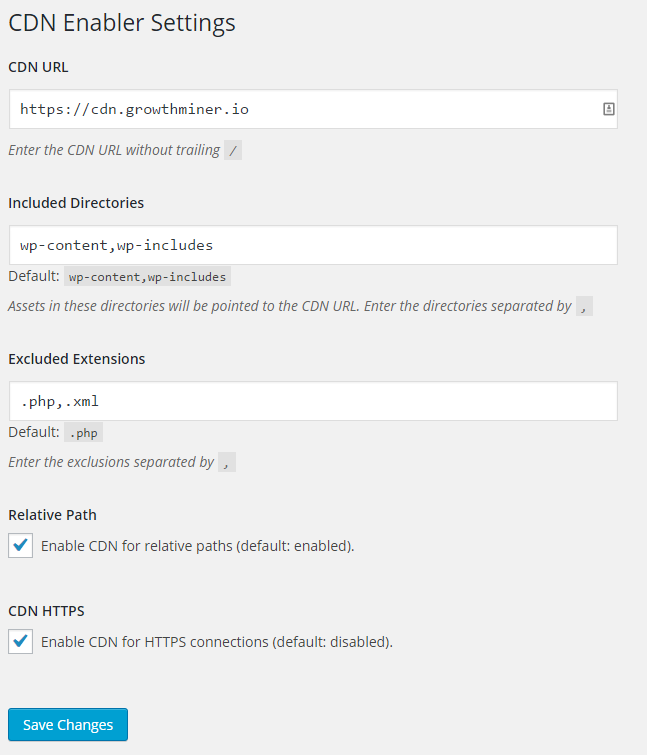 This is a screenshot of the CDN Enabler Settings in WordPress
