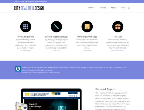 A screenshot of Tina Tina Granzo's website, City Beautiful Designs