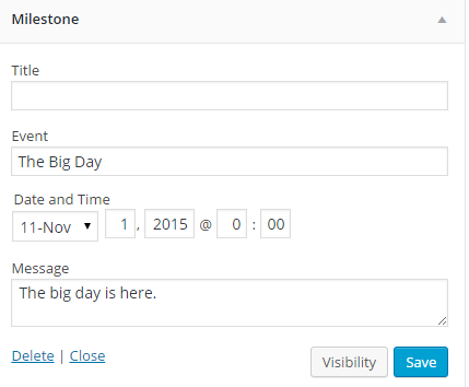 A Screen shot of the Milestone Widget test field for configuring the widget