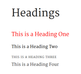 List of headings with a red heading.
