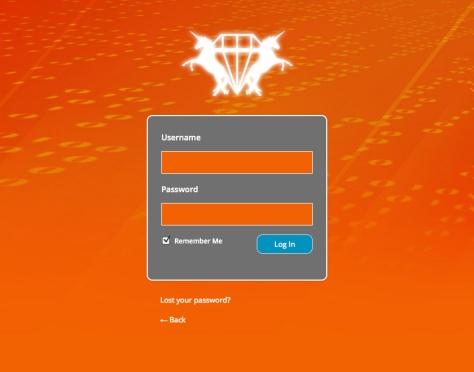 A screenshot of the WS Custom Login screen. The backgorund is a burnt orange, and there is a white custom logo above the login form.