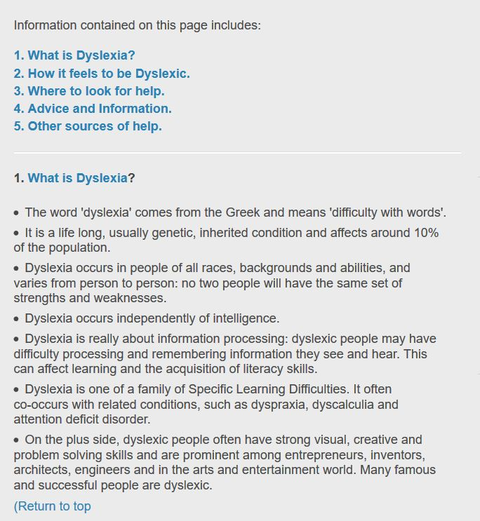 Page design for dyslexia.