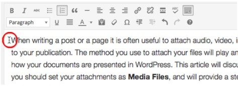 A screenshot which demonstrates placing your cursor where you want the image to appear in your post or page in the WordPress Editor