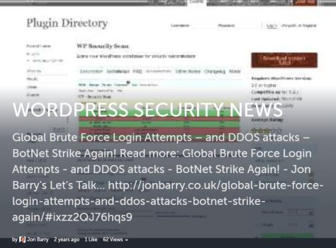 Screenshot example of a Storify Article image embedded in WordPress about a WordPress Security Issue.