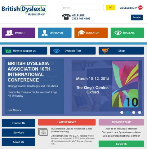 British Dyslexia front page site design.