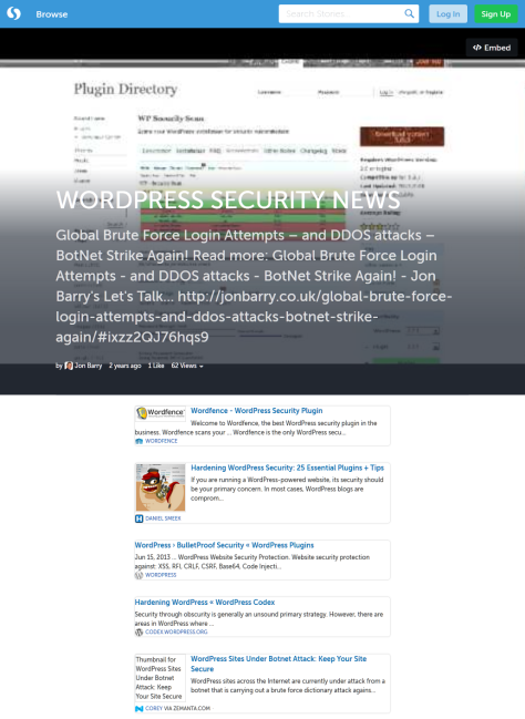 Storify example of the WordPress Security News Story.