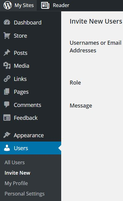 This is a screen shot of the Users button being highlighted in the wp-admin role.