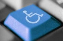 A accessibility symbol on a keyboard.