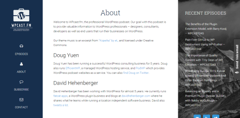 A screenshot of wpcast.fm about page with information about what they do.