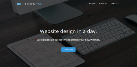 A screenshot of a landing page for efficientwp.com. Website design in a day.