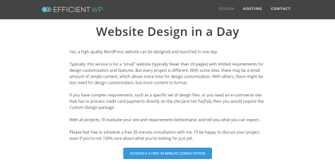 A screenshot of efficientwp.com with a mission information about website design in a day.