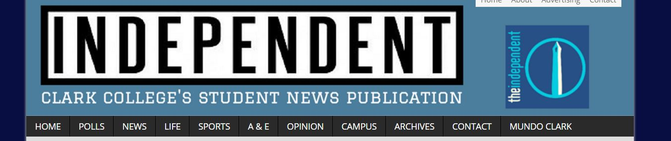 This is a screen shot of the banner for the website The Independent at Clark College.