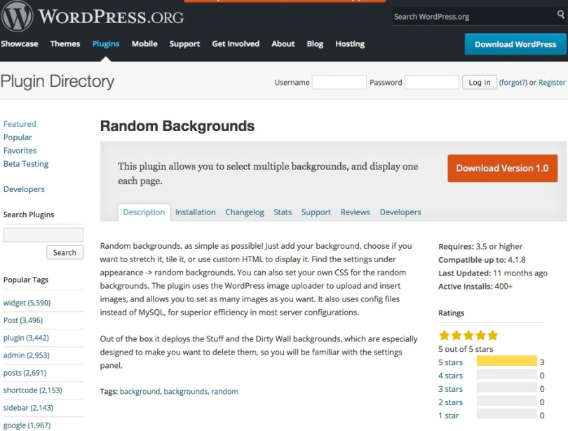 Screen shot of Random Backgrounds Plugin download page.